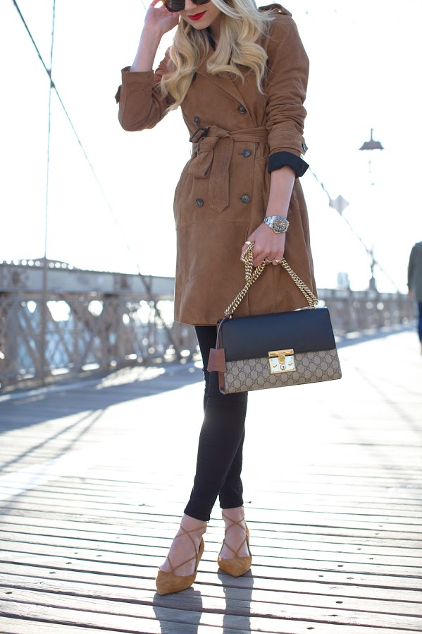 Blair Eadie is going all out in suede in this gorgeous winter outfit! Consisting of a suede mac, black jeans, and matching mustard suede heels, this style is perfect for achieving that classy look! Shoes: M. Gemi, Coat: Banana Republic.