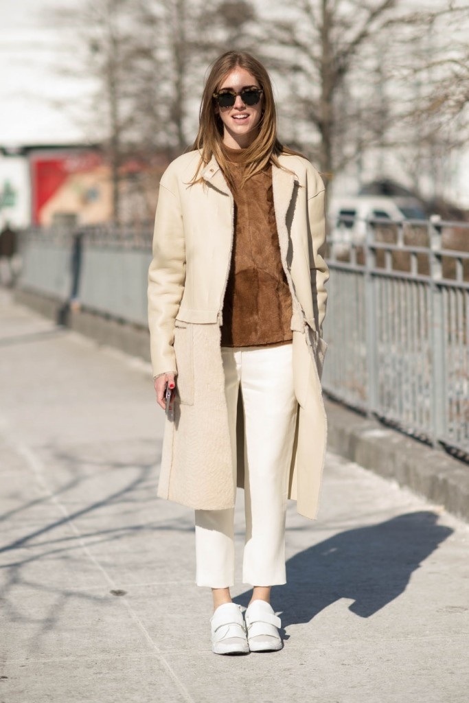 Chiara Ferragni is showing off the Suede Trend brilliantly with this ponytail top