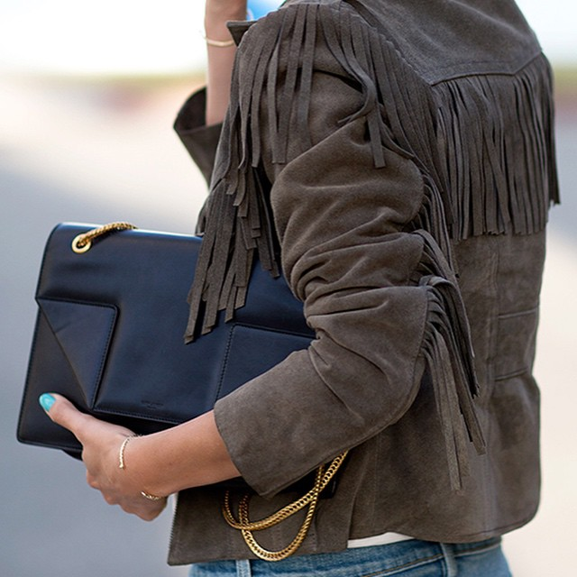 @alwaysjudging is showing off the suede trend with this brown fringed jacket