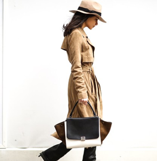 Lainy Hedaya is wearing a suede camel Gestuz trench coat