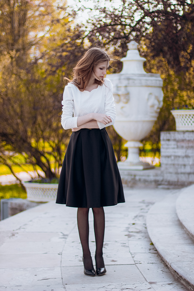 Mary Volkova is wearing a black and white outfit, the skirt is from Chicwish and the to top is from Tbdress