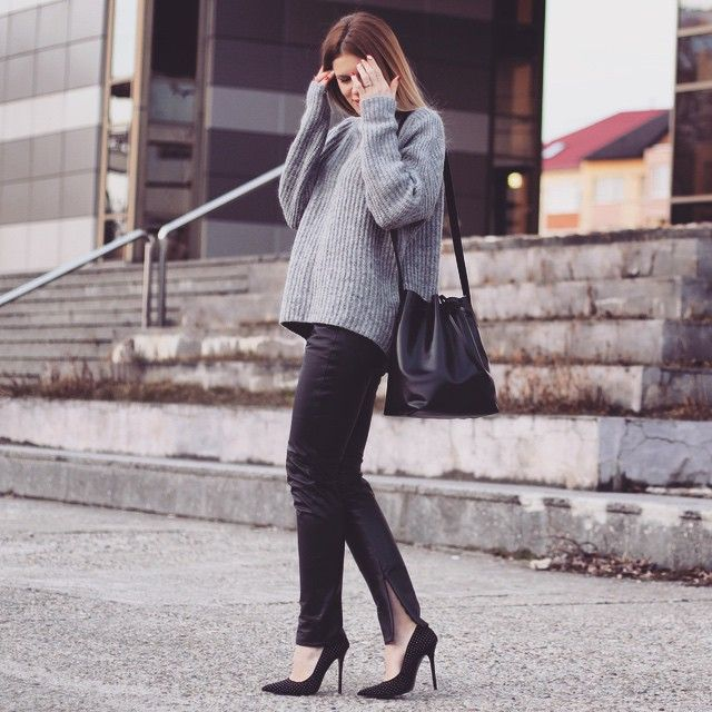 Laura Maxim In Skinny Leather Pantaxi Bucket Bag What Is There Not To