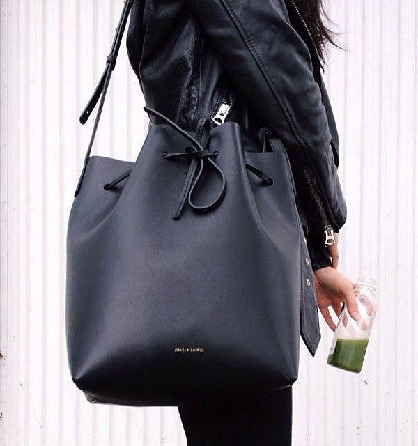 Bucket Bag Trend:The featured photo is of Ann Kim with her huge bucket bag from Mansur Gavriel