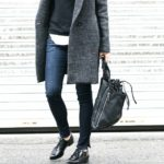 Best Of Insagram Fashion, February 2015: Grey Coat, backpack, jeans and black shoes Via @theedgeoflovely
