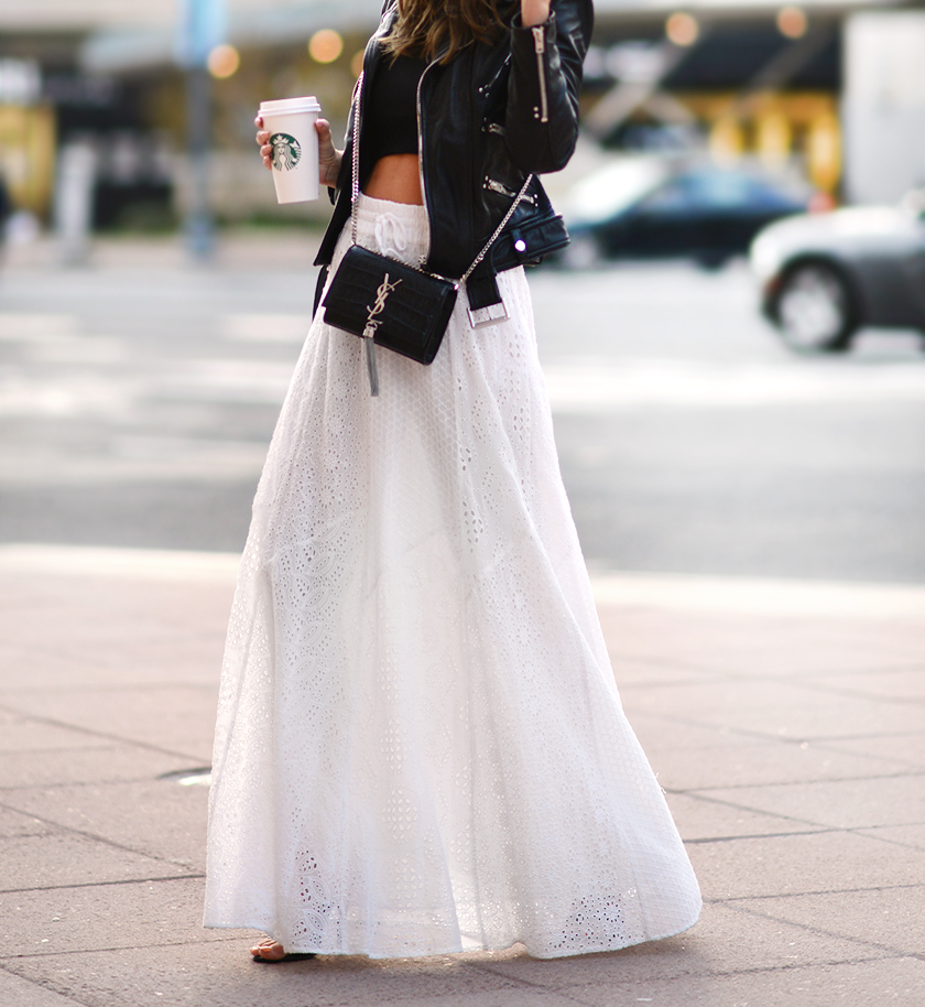 Black And White Day Outfits: Anette Haga is wearing a leather jacket from The Kooples with a Zara maxi skirt
