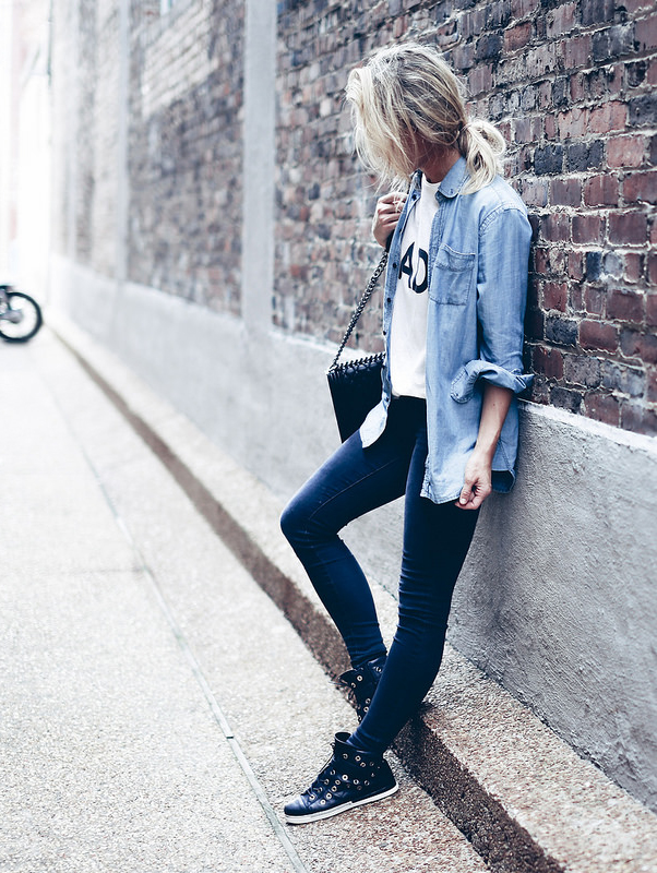 e9aabea4e2e Why not try this urban double denim look with an acid washed denim shirt  over skinnies and a white tee  Via happilygrey