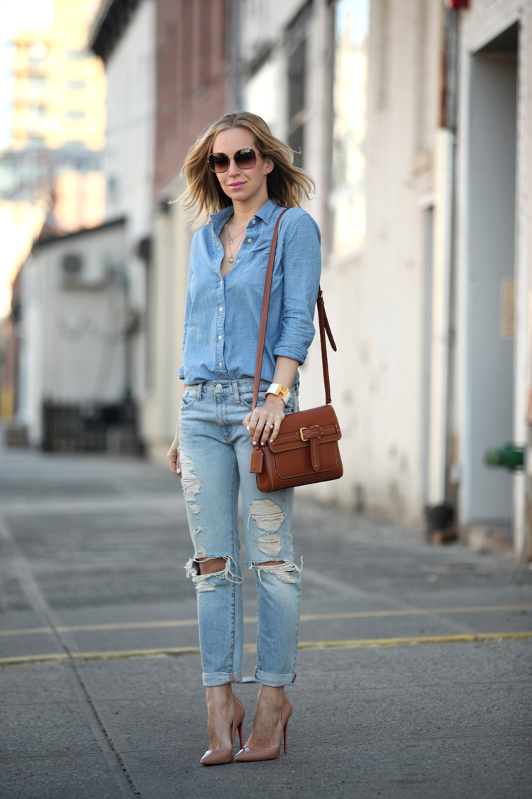 b47f400dd85 Denim And Fashion  Helena Glazer is wearing a light wash denim shirt and distressed  jeans
