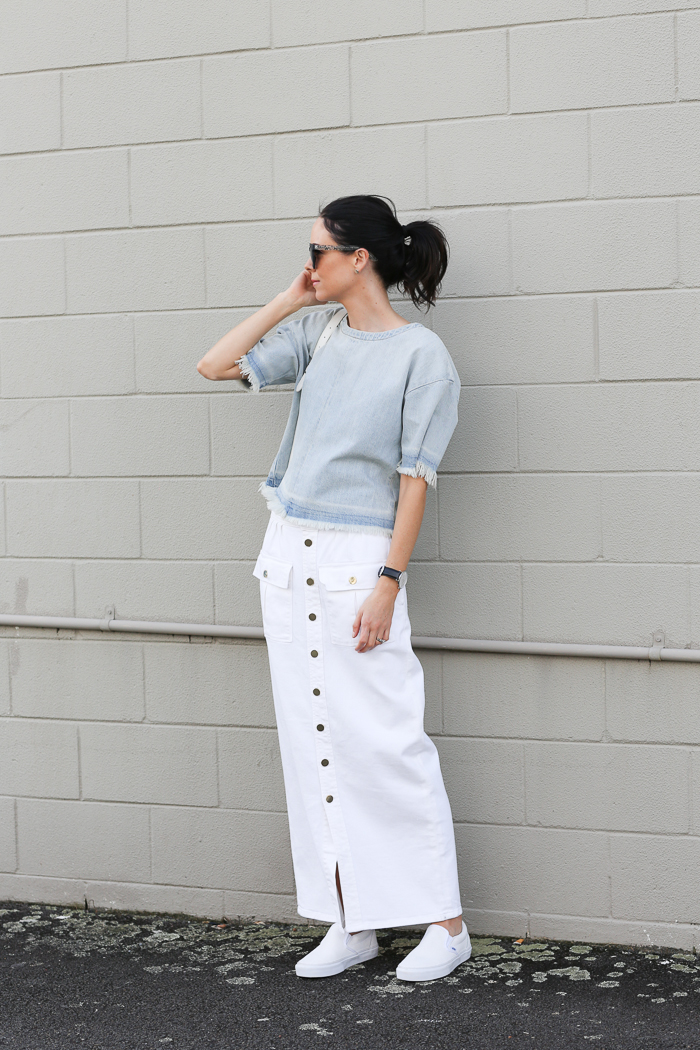 346cb7c361 Long white button front skirt and a light blue frayed top. it doesn't