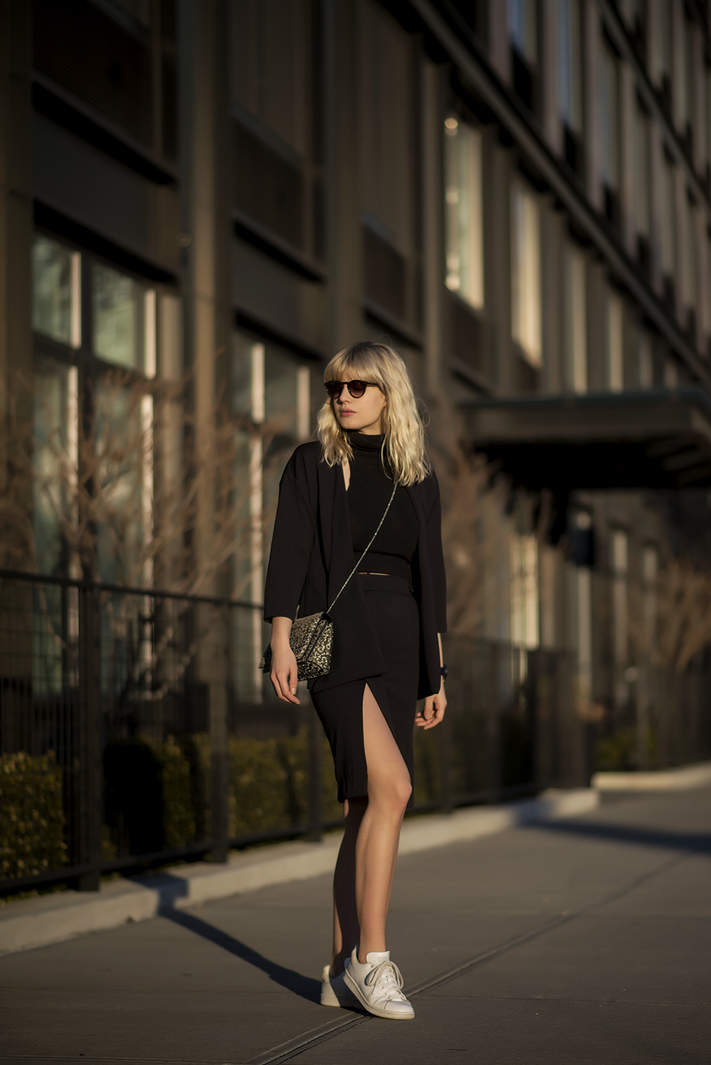 High Slit Trend: Lisa Dengler is wearing a high slit skirt from ESTby ES