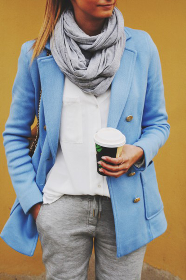 Blue Jeans White Shirt is wearing a pale blue coat and grey scarf from H&M and the white blouse is from Zara