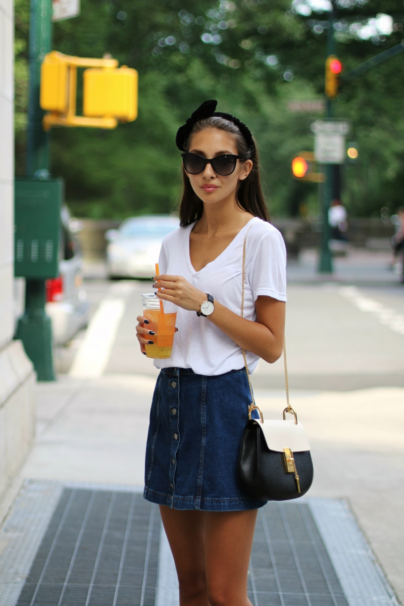 Vanessa - American Apparel Denim Mini Skirt, Steve Madden Leather Wedges -  Thrift Finds
