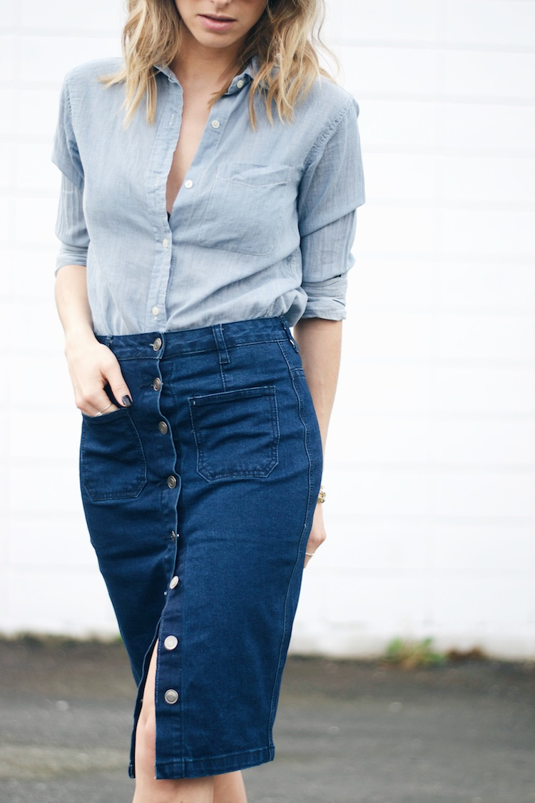 A denim skirt, sometimes referred to as a 'jean skirt' or 'jeans skirt', is a skirt made of denim, the same material as blue jeans. Denim skirts come in a variety of styles and lengths to suit different populations and occasions.