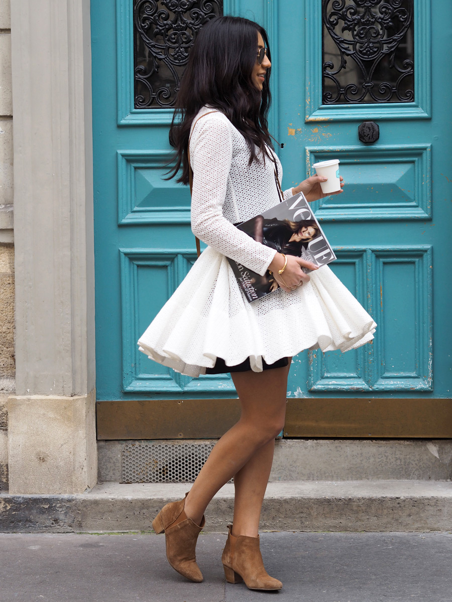 Street Style, March 2015: Kayla Seah is wearing a lace white Maje dress with suede ankle boots