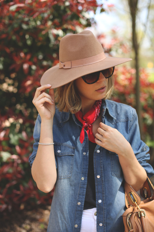 How To Wear A Bandana: Priscila Betancort has styled her outfit with an Asos red bandana