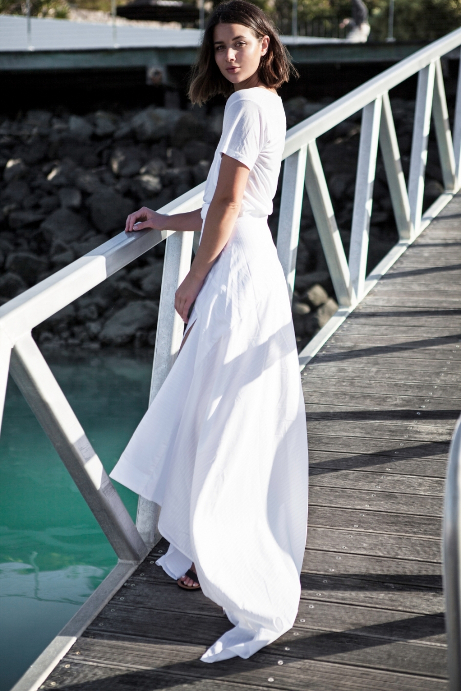White Maxi Skirt Outfit - Skirts