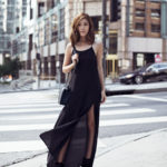 That black dress paired with that bag and those boots... Stunning. Via Jenny Tsang Dress: Anine Bing, Boots: Dolce Vita, Bag: Chanel. Black Outfits.