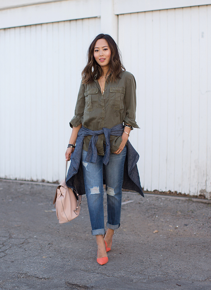 Street Style, April 2015: Aimee Song is wearing a khaki green shirt paired with distressed boyfriend jeans all from Banana Republic