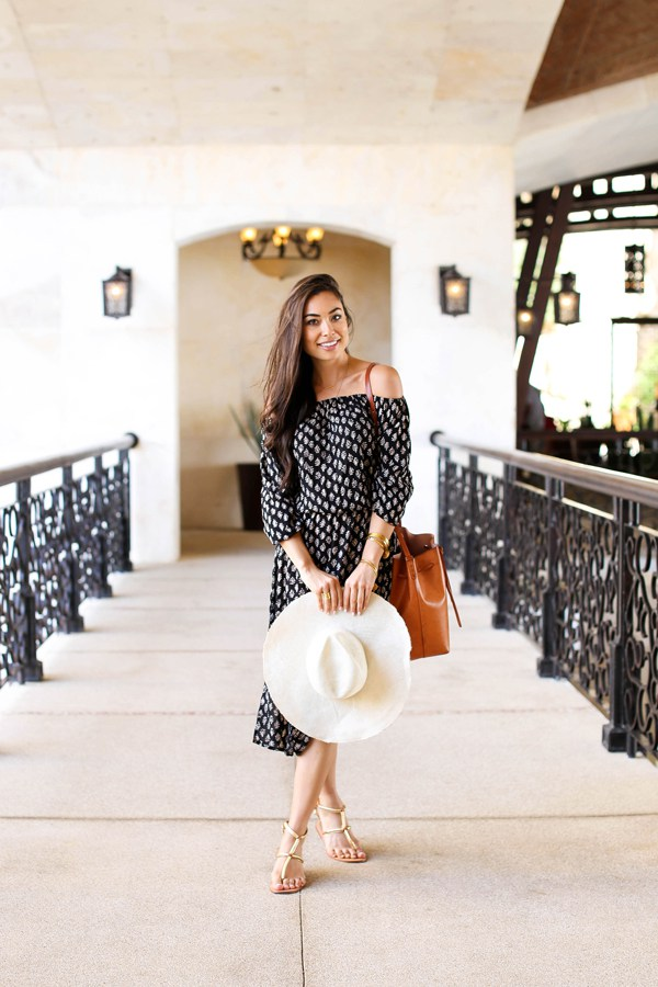 Kat Tanita is beach ready in this cute midi length strapless sundress, accessorised with a classic straw hat and a leather beach bag! Dress: Cool Change, Hat: Preston + Olivia, Sandals: Cocobelle, Bag: Mansur Gavriel.