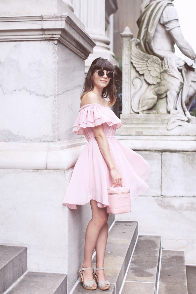 We love this stunning blush pink off the shoulder dress.