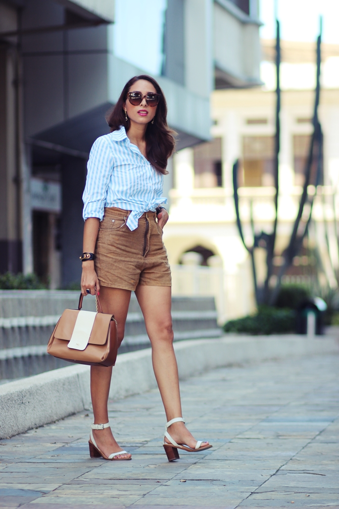 aa220f92e5 High waisted shorts are coming back in! And they look even better when  paired with a stripy tie front shirt and white heels! Via Virgit Canaz