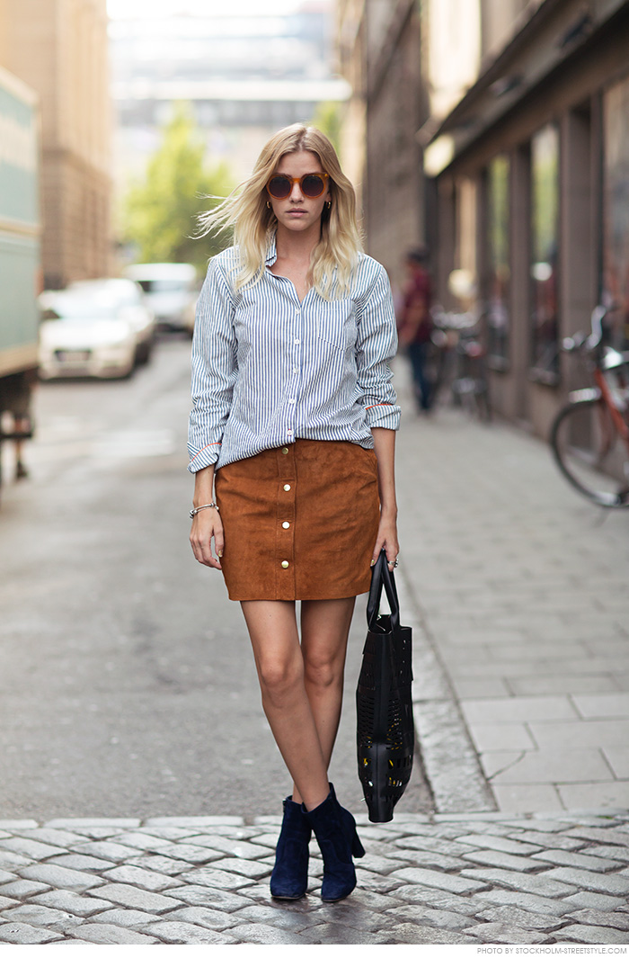 5a1f781f05 Go all out with the buttons – just match a striped shirt with a cute suede  skirt! Via Elsa Ekman
