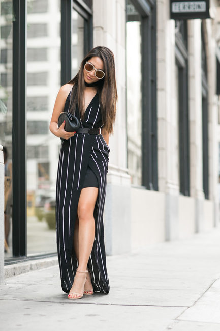 118c1b91e8 Mix up the stripes trend with this high slit dress paired with heels. Via  Wendy Nguyen