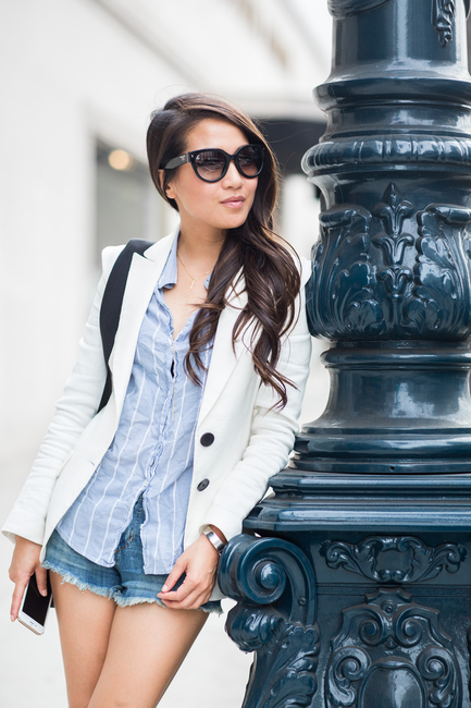 d198e8ac5b Wendy Nguyen is working the stripes trend by pairing this shirt with a  white blazer and distressed denim shorts.