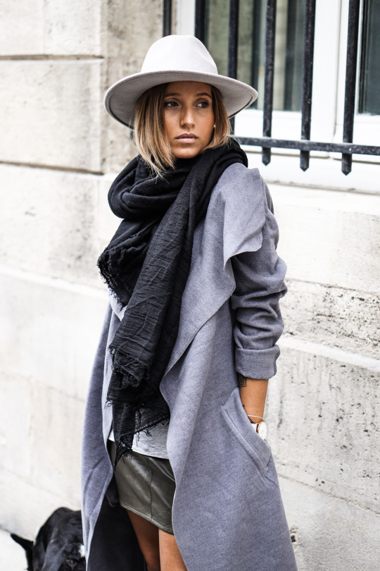 Camille Callen wears awesome cream fedora with her grey marl coat and leather skirt. Coat: Missguided.