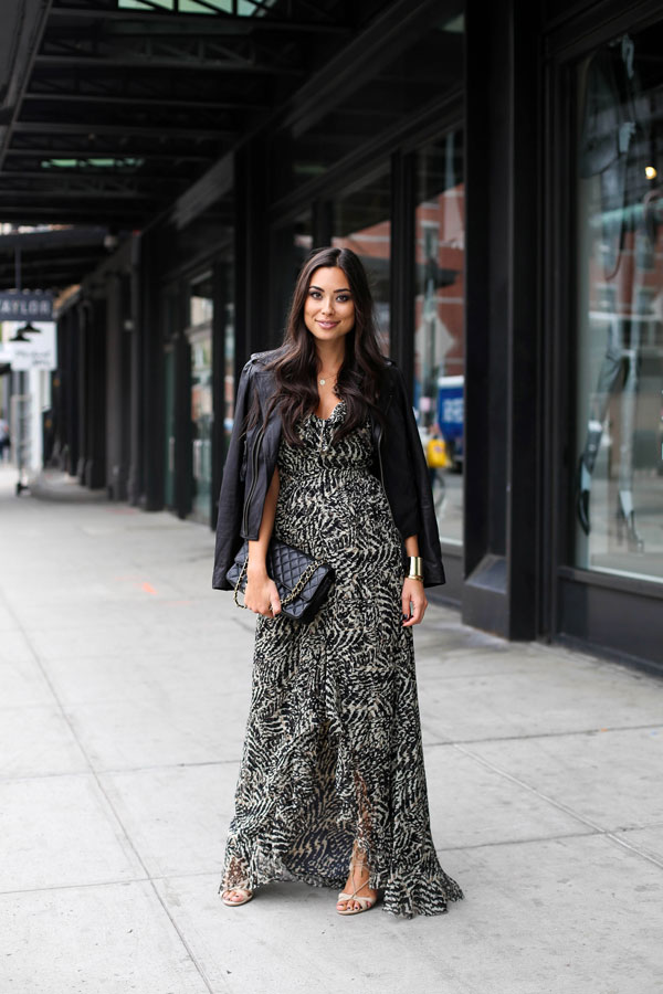 Patterned dresses are a winner this fall. Try going bold and wearing a maxi dress with a simple leather jacket to finish the outfit off. Via Kat Tanita. Dress: L'Agence, Jacket: Joie.