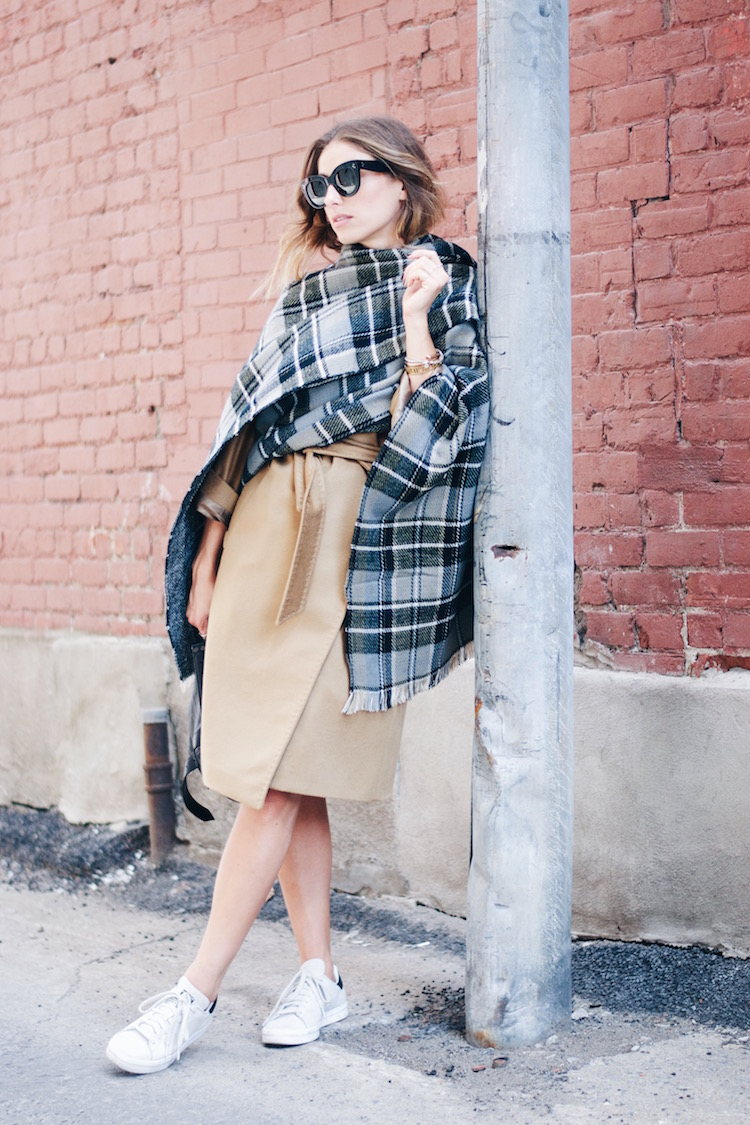 Wear your classic camel robe coat with a plaid wrap for Fall. Via Jill Lansky Coat: Max Mara, Wrap: Collection 18, Sunglasses: Celine, Sneakers: Adidas Stan Smith