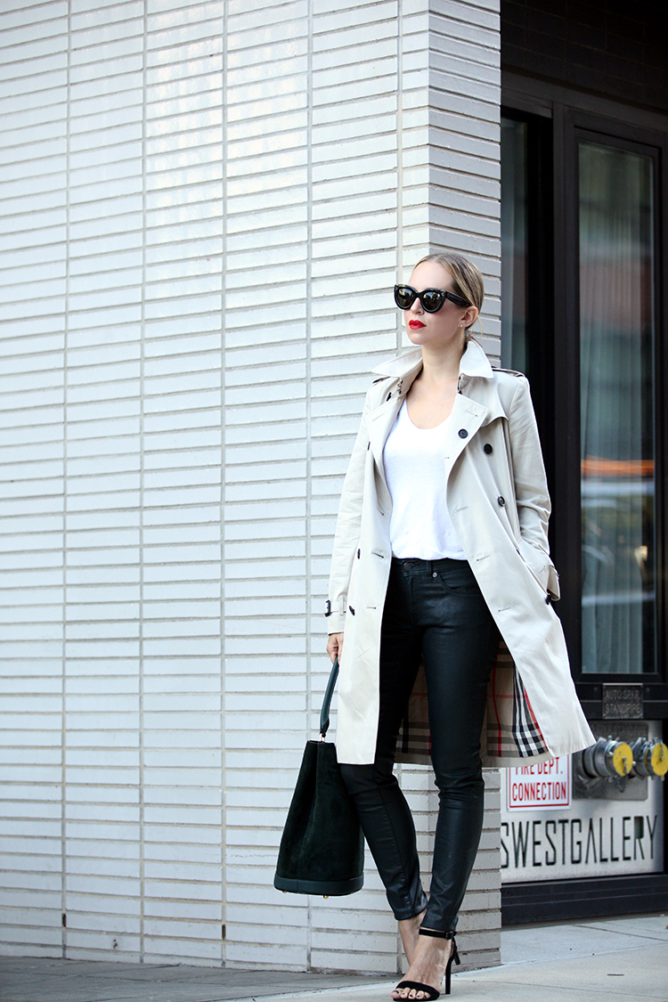 Wear the classic trench coat with a simple white V-neck tee, leather pants and sandals. Via Helena Glazer Trench/Pants/Bag: Burberry, T-shirt: Splendid, Shoes: Steven. Fall Outfits