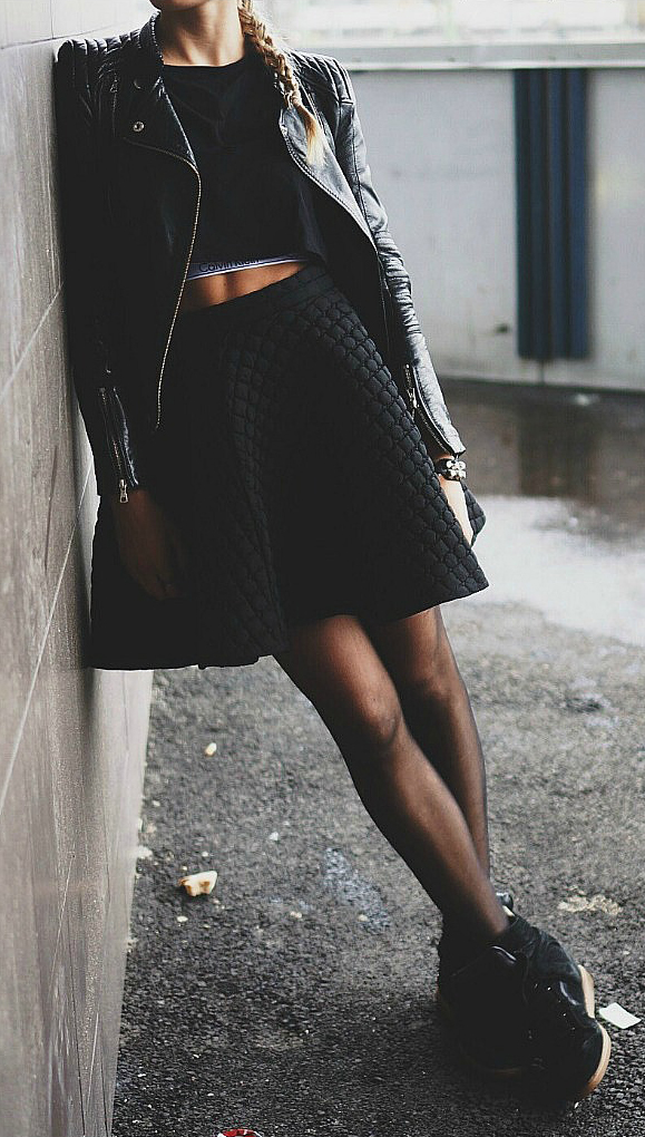 The combination of the leather jacket, crop top, textured skirt and sneakers is both a bit rocker but still feminine. Via Jennifer Sandsjö Fashion Brands: Unknown. Rocker Outfits