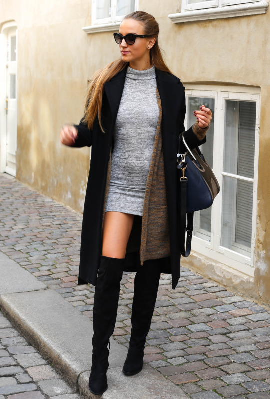 fabulous outfits with black knee boots dress