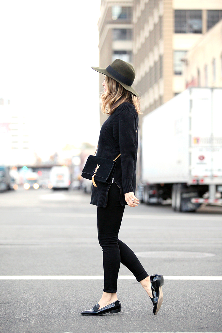 Try wearing a hat with your every day outfit to freshen up your look. Via Helena Glazer. Hat: Club Monaco, Sweater: Banana Republic, Jeans: Elliott, Loafers: J Crew, Bag: Saint Laurent.