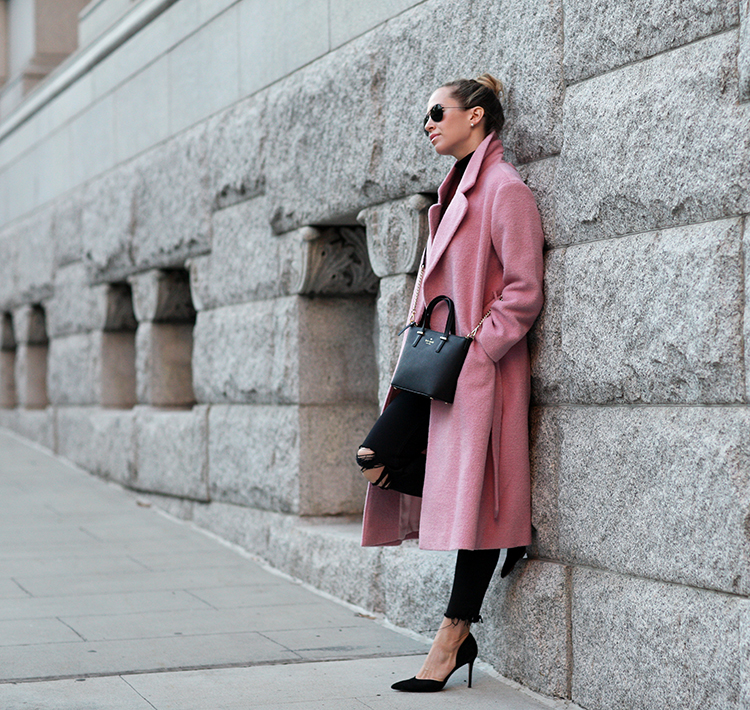 Helena Glazer dares to wear pink, pairing this gorgeous coat with distressed black jeans and a cute pair of Marc Fisher heels. Coat: Kate Spade New York Madison Collection,Handbag: Kate Spade, Jeans: Express, Shoes: Marc Fisher.