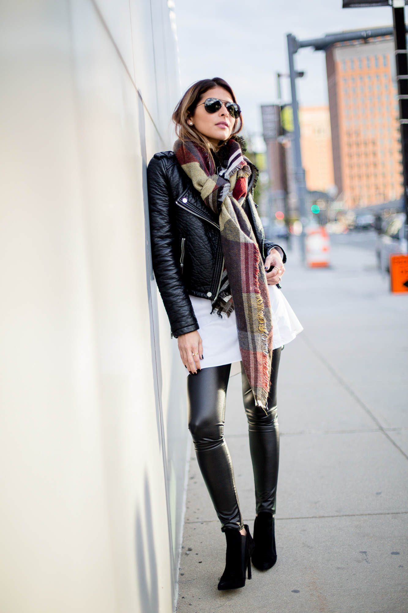 Pam Hetlinger dares to wear leather on leather in a badass leggings and jacket combo. Jacket: Moto, Top: Shopbop, Booties/Leggings: Nordstrom.