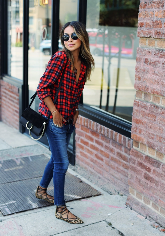 Equipment Plaid Blouse