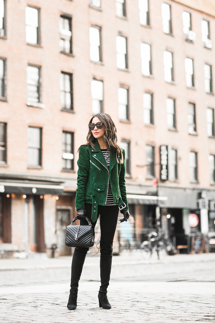 Wendy Nguyen looks ultra punk rock in this cool green suded jacket, with belt and stud detailing. Paired with skinny black jeans and ankle boots, this look is perfect for casual outfings! Jacket: Veda, Sweater/Jeans: Topshop, Bag: Saint Laurent, Shoes: Stuart Weitzman.