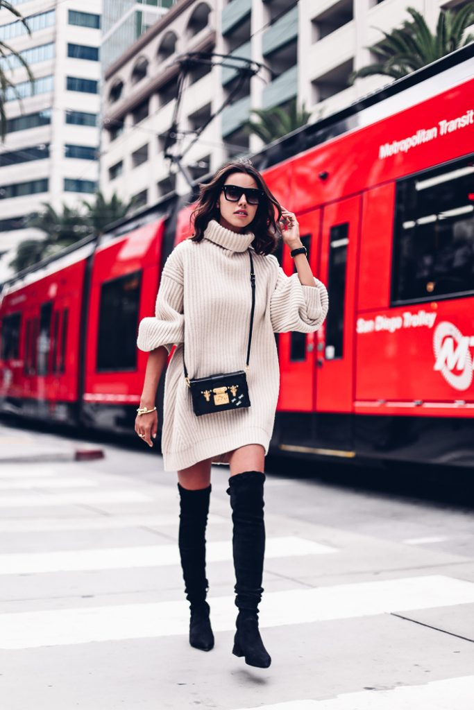 Why not wear thigh high boots with an oversized knit sweater like Annabelle Fleur? This style is cosy, seasonal, and utterly chic; perfect for the upcoming winter! Sweater: ACNE, Boots: Olgana Paris.