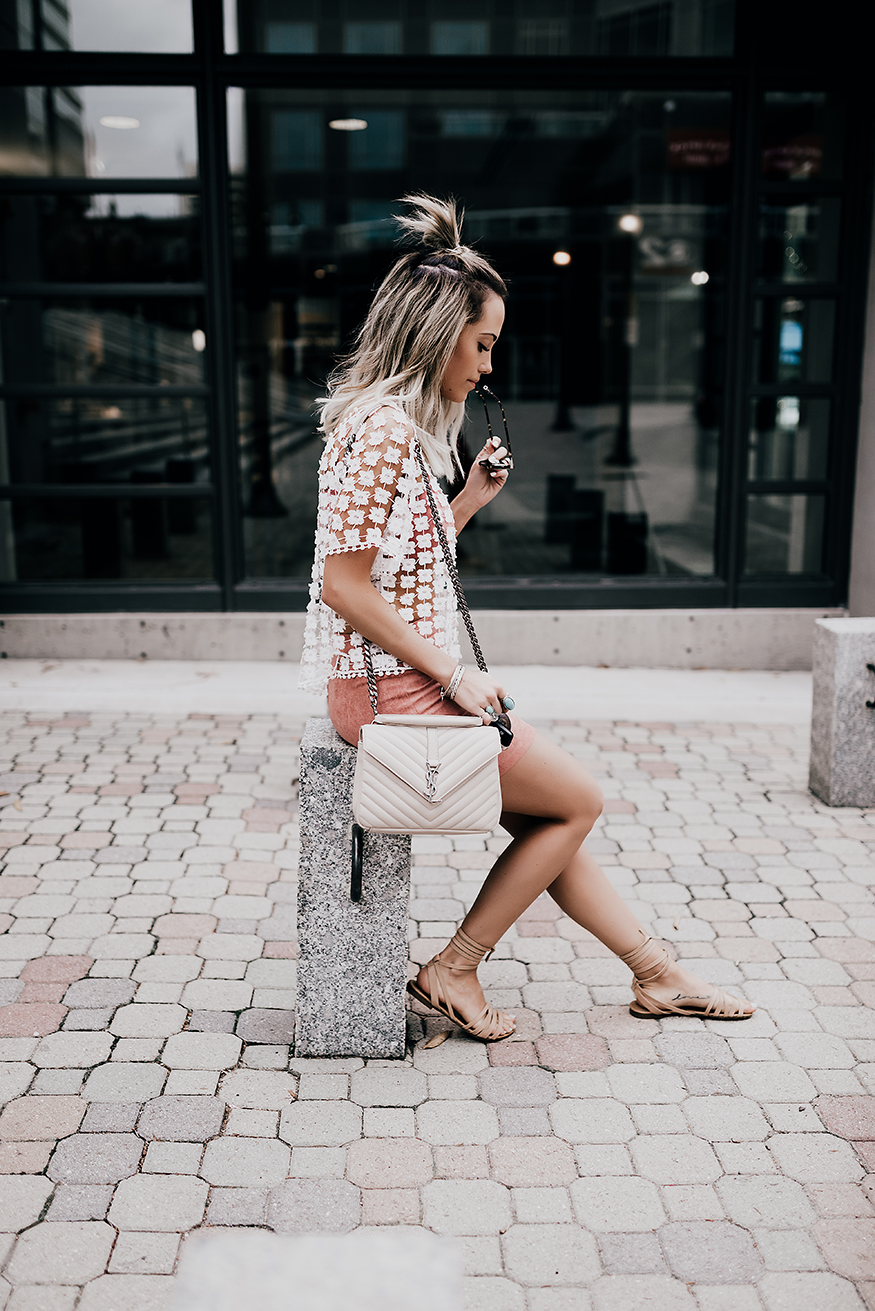 Neutral and nude tones are a must this spring! This lace top is perfect worn over a bralette or bikini, and matched with shorts or a skirt will make a simple but gorgeous spring/summer look. Via Megan Anderson. Top/Skirt/Shoes: Lulu's, Bag: Saint laurent.