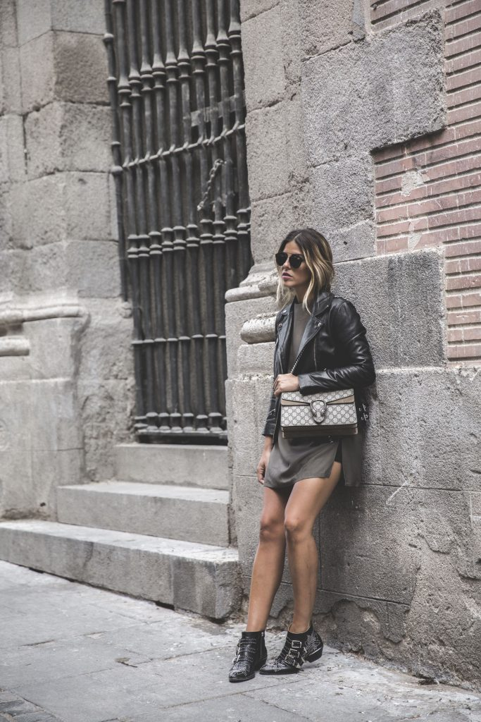Why not try this stylish combination of a mini dress and leather jacket like Natalia Cabezas? This look is simplistic yet sophisticated, and will look totally glamorous paired with studded boots and a pair of shades. Jacket: Diesel via Farfetch, Dress: Oak & Fort, Bag: Gucci, Boots: Chloé via Farfetch.