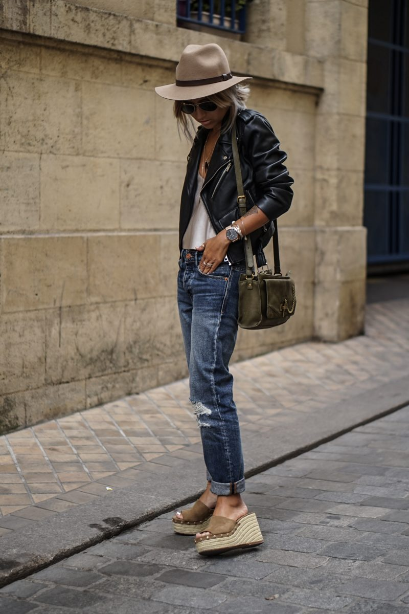 Leather jackets can be the perfect entry to the world of androgynous chic! Throw on a plain tee, denim jeans, and a classic leather jacket to steal Camille Callen's awesome boyish style. Top/Jacket: Zara, Jeans: Mango.