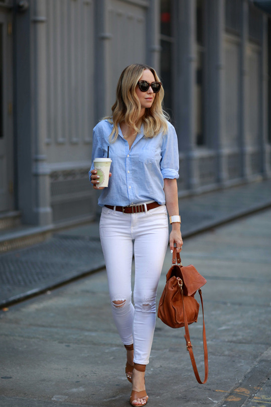 Helena Glazer combines two of the hottest fall trends here; white jeans and distressed denim! Wear this look with a button down blouse to get that laid-back boyfriend style which we all crave! Brands not specified.