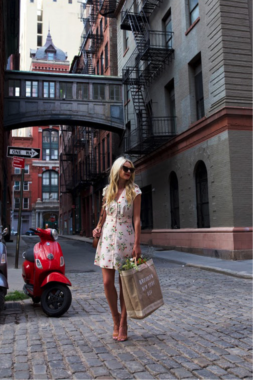 Blair Eadie is the epitome of summer in this girly floral dress. She accessorises the look with her statement sunglasses, dainty heels and a lovely tanned bag- the perfect aesthetic for the summer! Dress/Shoes/Sunglasses- Nordstrom Bag- Gucci
