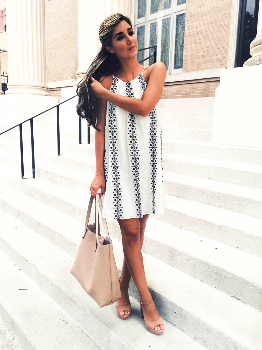 Jessi is rocking this patterned white dress, which is a summer necessity. Simple yet effective, the patterned detail really adds a different dimension. Paired with a statement bag and matching heels, this look is ultra-cute. Dress/Shoes/Bag: Nordstrom