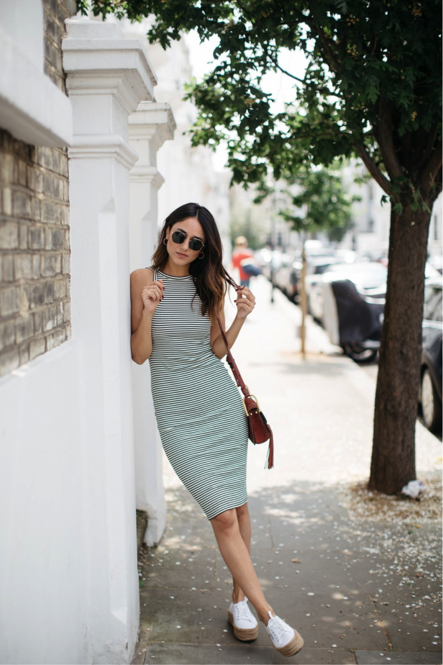 Stripes are an essential this summer. Replicate Soraya Bakhtiar's flattering dress, teamed with some platform sneakers and statement sunglasses for an effortless seasonal outfit. Perfect for any occasion, we love this look. Dress: Urban Outfitters, Sneakers: Superga, Sunglasses: Spektre