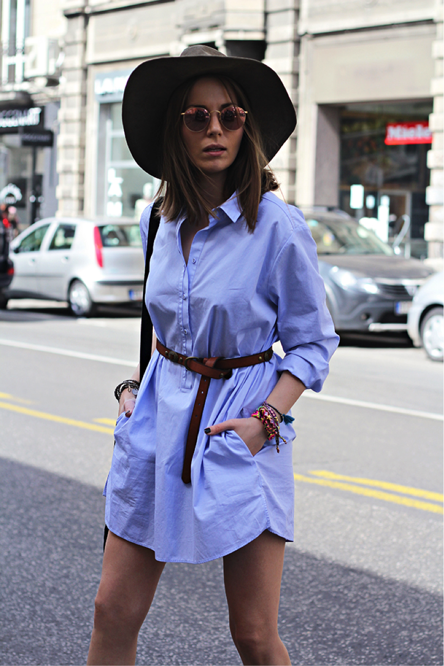 Everybody has an old shirt lying around-Why not copy Vanja Milicevic, and reintroduce it into your wardrobe? A shirt is an ideal alternative to a dress, and it brings with it a bohemian vibe- add a belt for a more fitted look. This outfit just screams summer! Shirt: Massimo Dutti, Belt: Pull&Bear