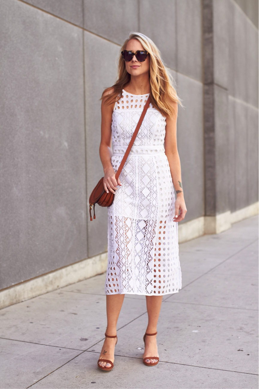 Geometric patterning is über cool, and it certainly makes this dress unique! Modelled by Amy Jackson, it is hugely flattering and feminine, and, when paired with some heels, is great for a summer evening. Dress: Nordstrom, Sandals: Stuart Weitzman