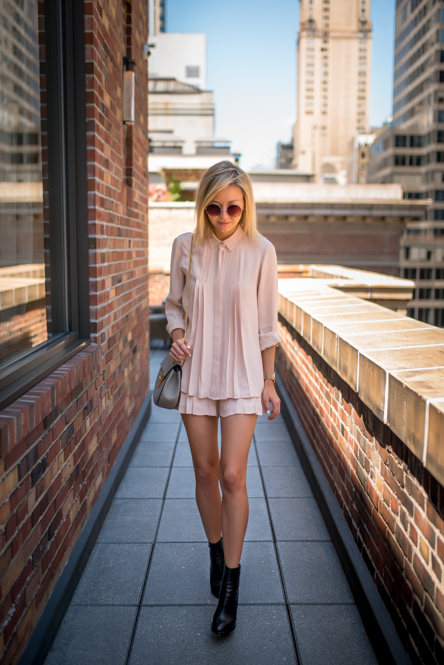 Rock pink for a feminine and flirty look this season. We love this coordinated pink summer outfit; pair it with some black chunky boots, like Laurie Ferraro, for a more grungy feel. Brands not specified