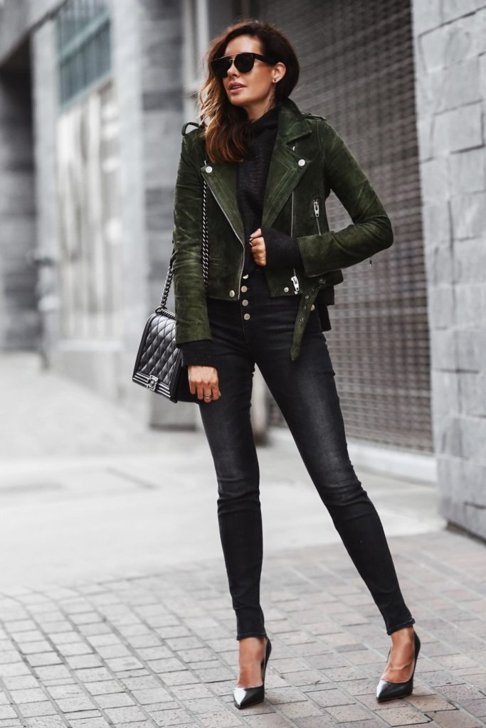 Erica Hoida shows us a wearable way to incorporate the military jacket into a casual yet cool outfit. She keeps the rest of the look simple so her jacket is the statement piece. Jacket: Blanknyc , Sweater: Free People, Jeans: J Brand, Shoes: M.Gemi, Bag: Chanel Sunglasses: Celine